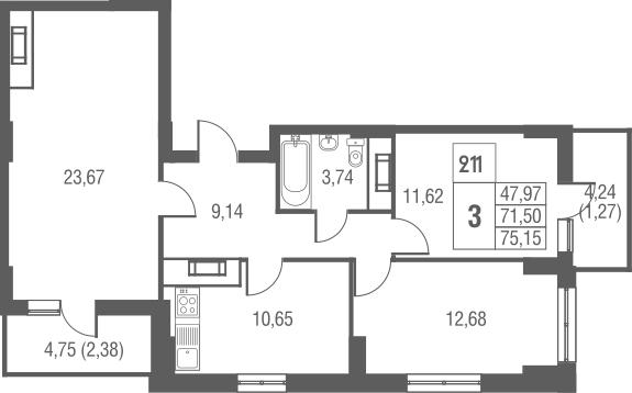 3-к.кв, 75.15 м²