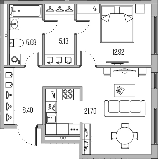 2-к.кв (евро), 53.83 м²