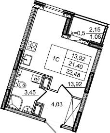 Студия, 22.48 м², от 3 этажа