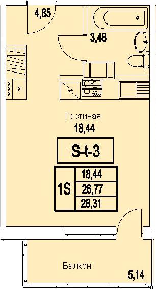 Студия, 28.31 м²– 2