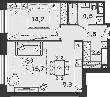 2Е-комнатная, 52.3 м²– 2