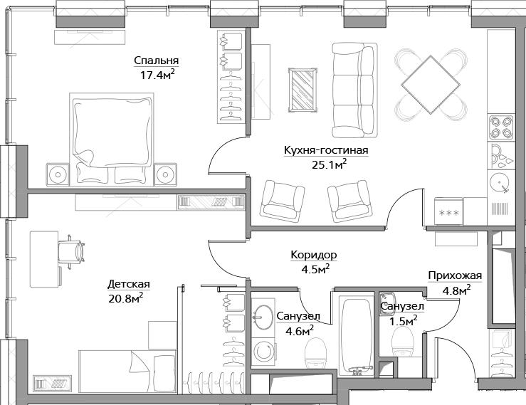 3Е-комнатная, 78.7 м²– 2