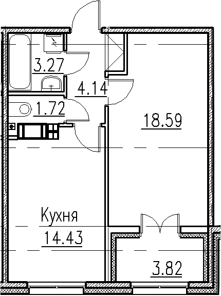 1-к.кв, 45.97 м²