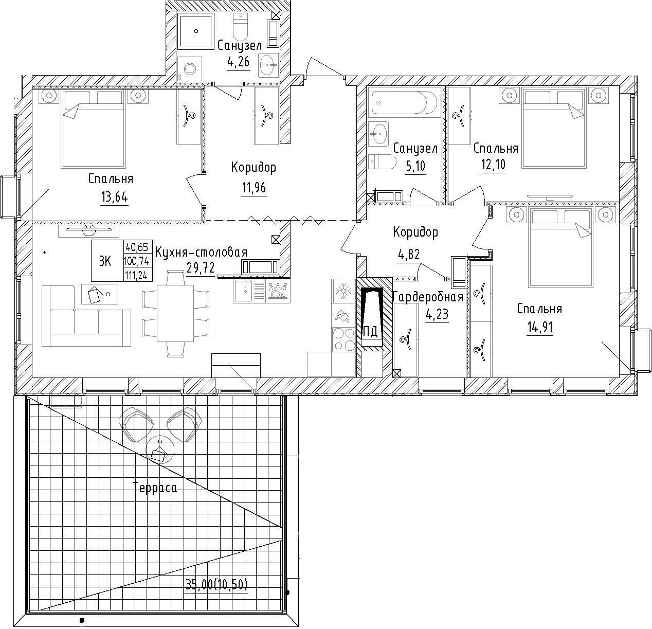 3-комнатная, 111.24 м²– 2
