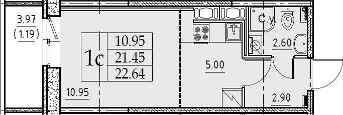 Студия, 22.64 м²– 2