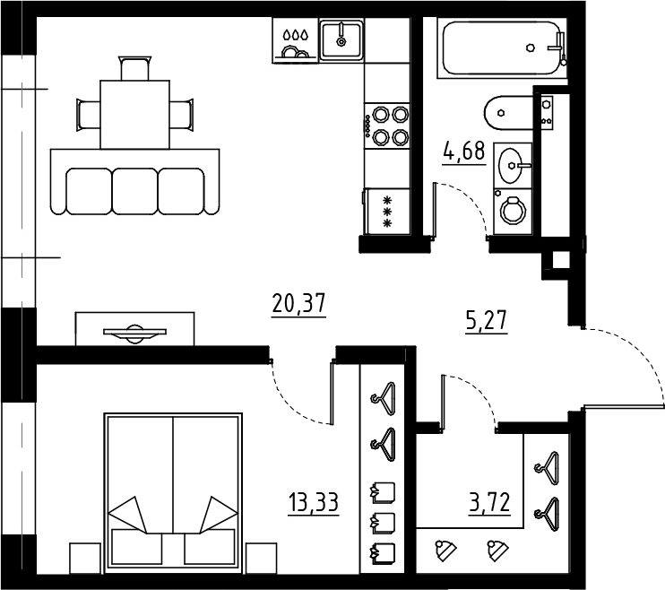 2Е-комнатная, 47.37 м²– 2