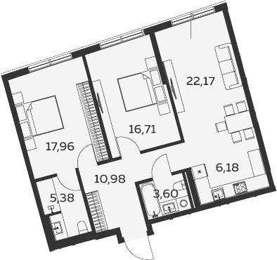 3Е-комнатная, 82.98 м²– 2
