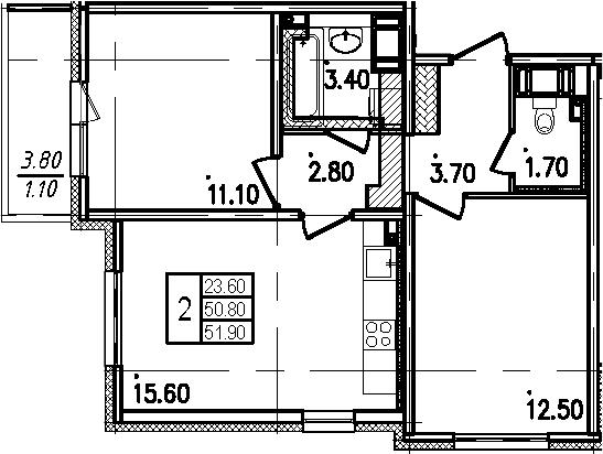 3Е-к.кв, 51.9 м²