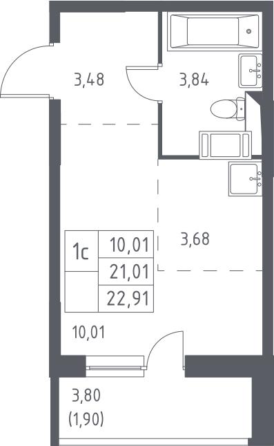 Студия, 22.91 м², 13 этаж