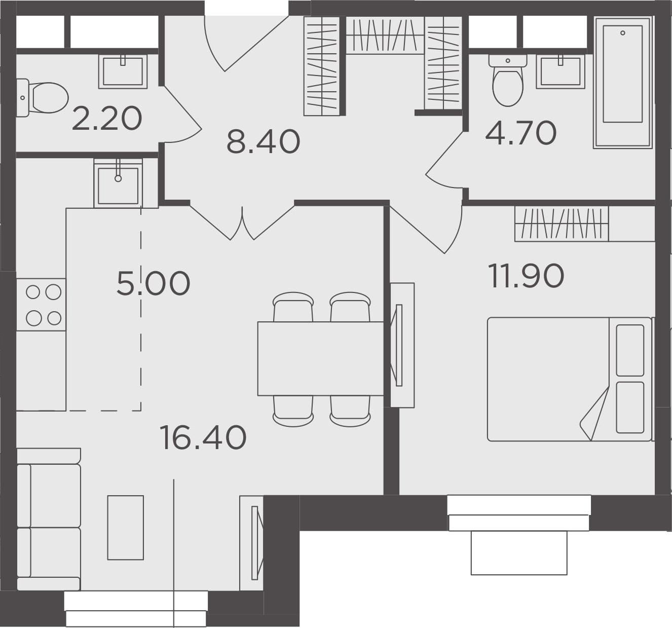 2Е-к.кв, 48.6 м²