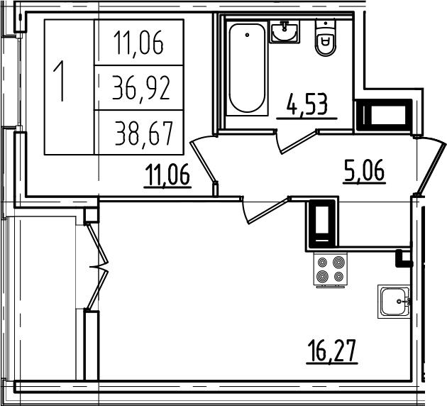 2-к.кв (евро), 40.42 м²