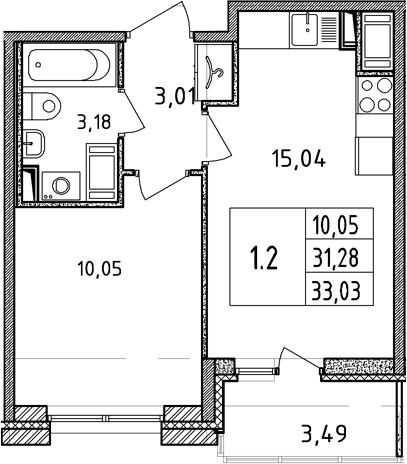 2Е-комнатная, 31.28 м²– 2