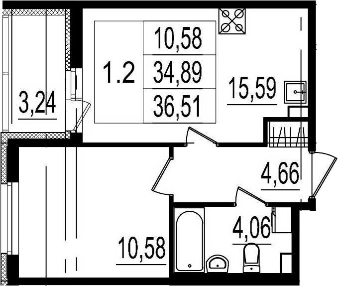2Е-комнатная квартира, 34.89 м², 1 этаж – Планировка