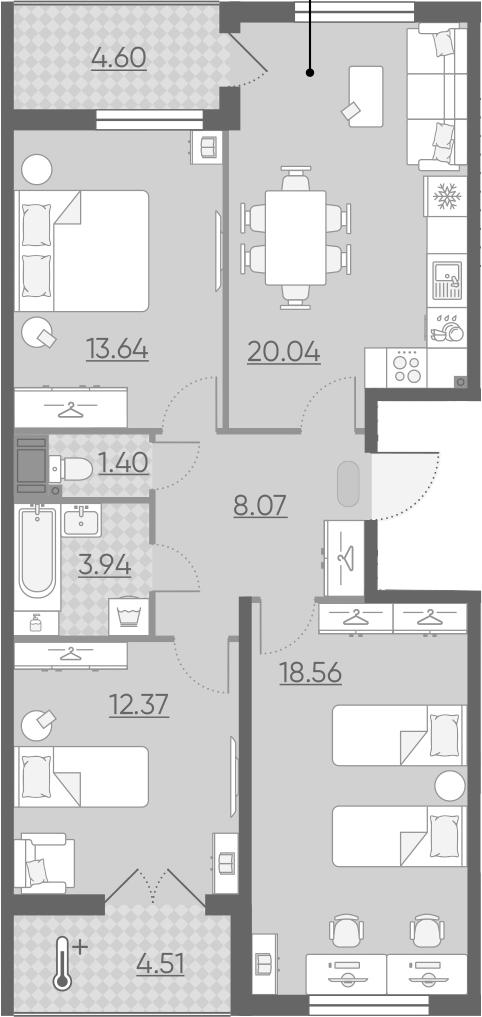 4Е-комнатная, 82.88 м²– 2
