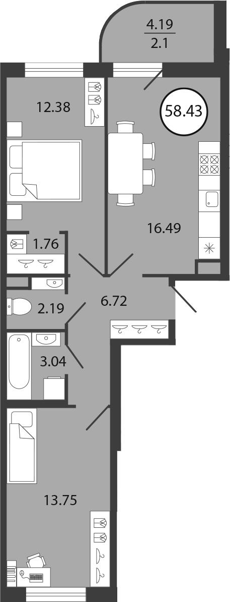 3Е-комнатная, 58.43 м²– 2
