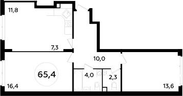 3-к.кв (евро), 65.4 м²