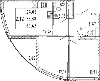 3Е-комнатная, 55.38 м²– 2