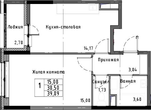 1-к.кв, 41.28 м²