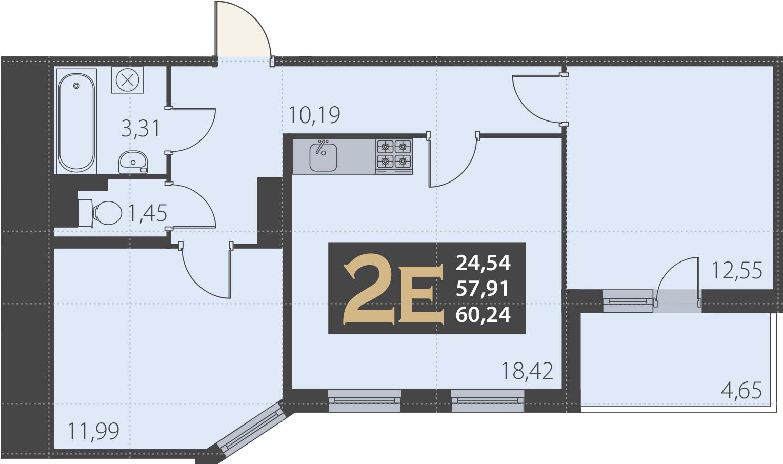 3Е-комнатная, 60.24 м²– 2