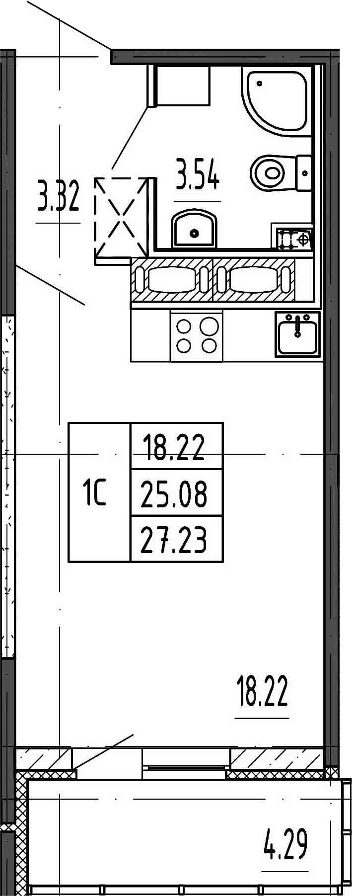 Студия, 29.37 м²