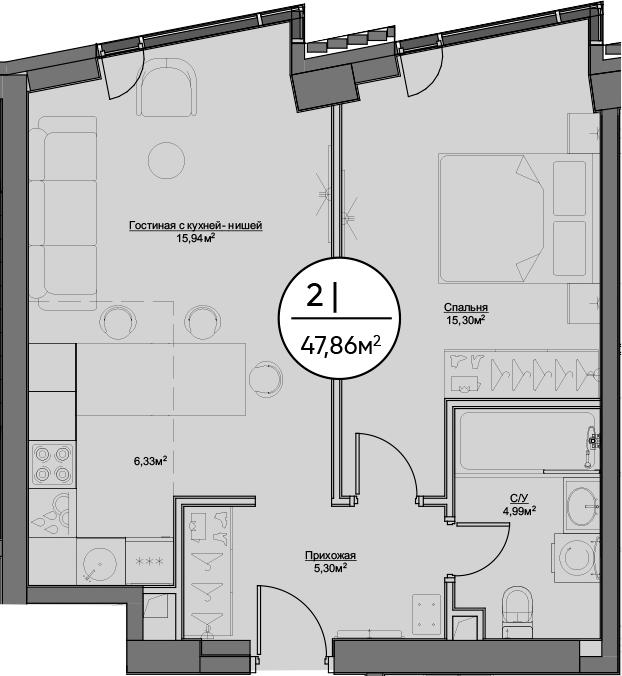 2-к.кв (евро), 47.86 м²
