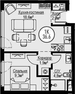 2Е-к.кв, 36.6 м²
