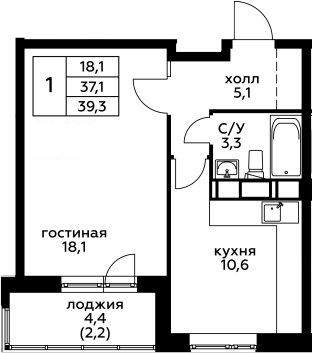 1-комнатная, 39.3 м²– 2