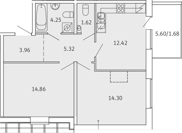 2-комнатная, 58.41 м²– 2