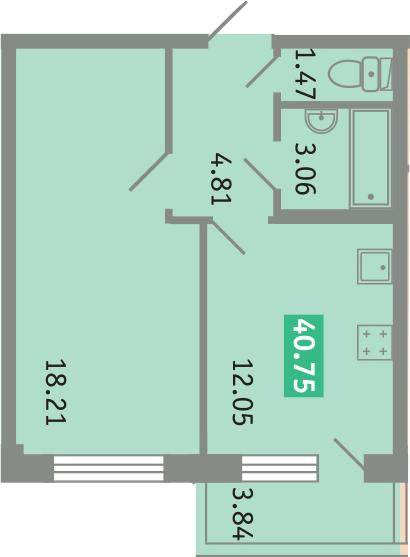 1-к.кв, 43.44 м²