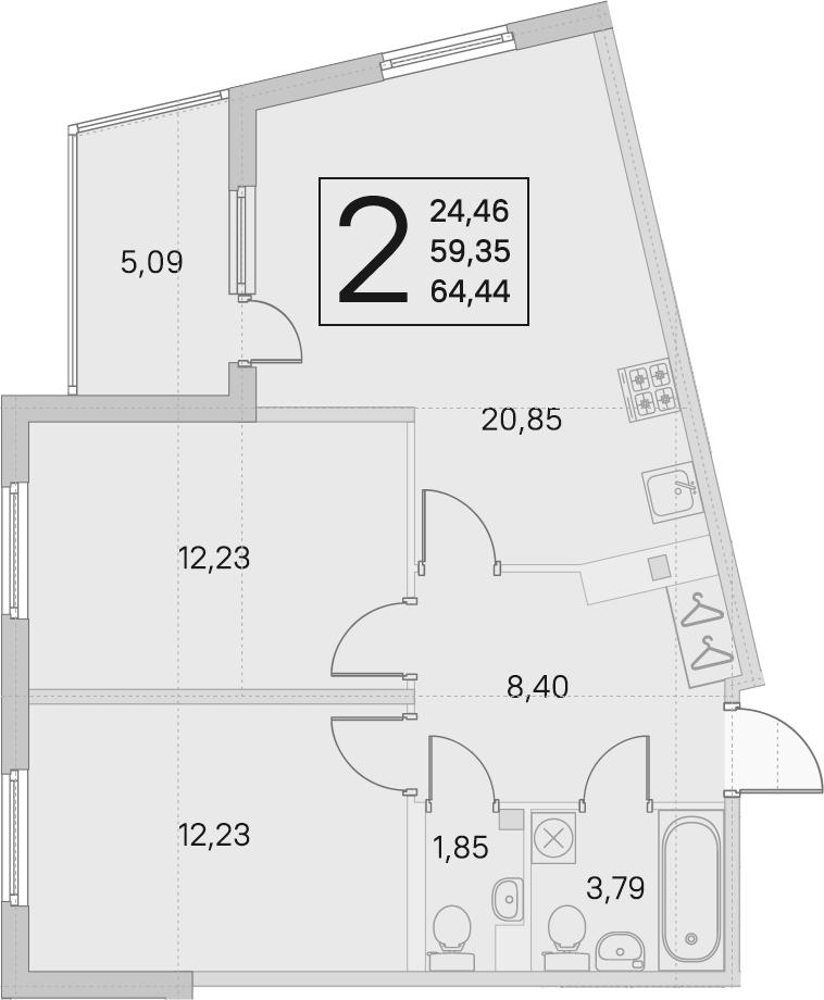 3Е-комнатная, 59.35 м²– 2