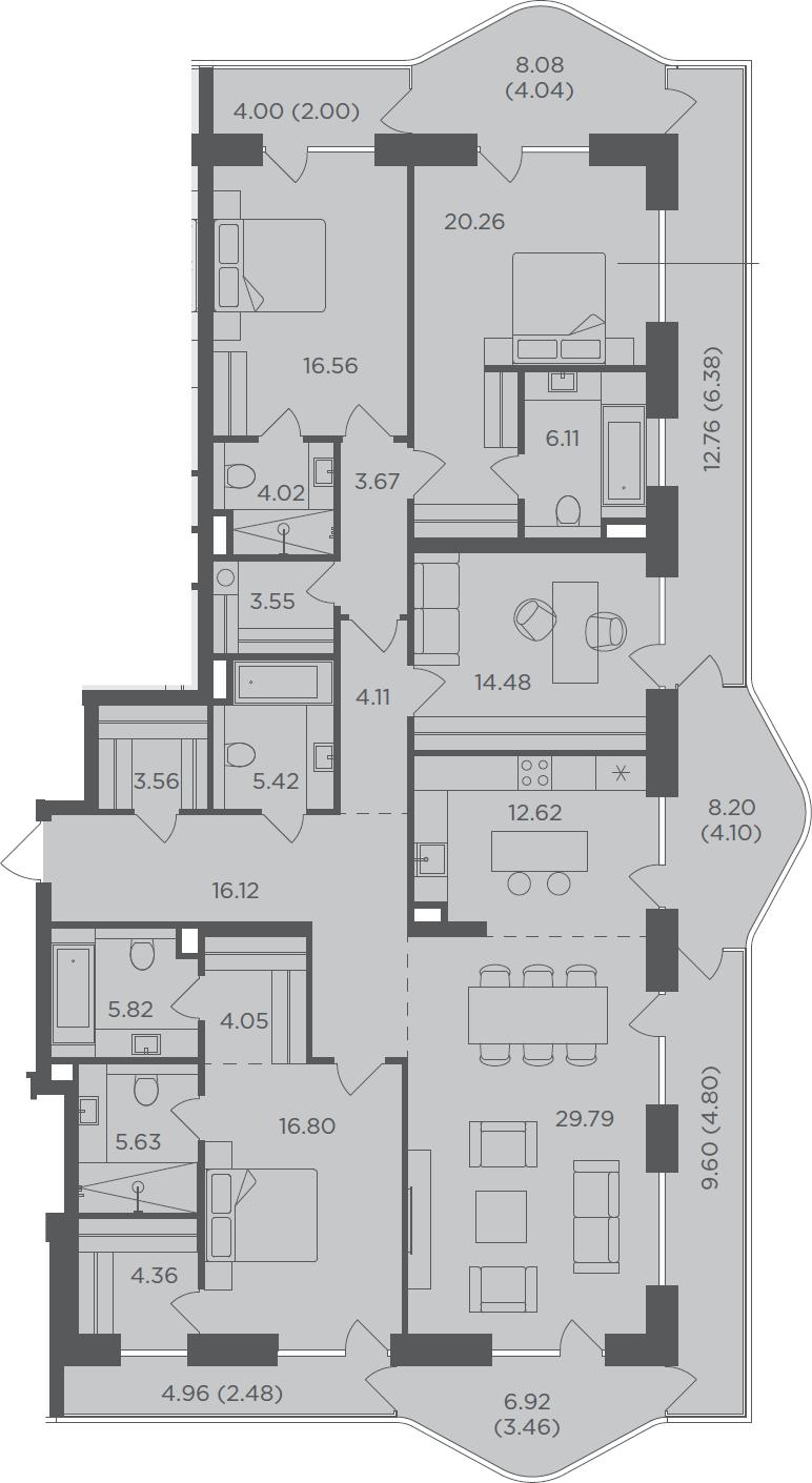 5-комнатная, 204.19 м²– 2