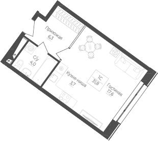 Студия, 31.8 м²– 2