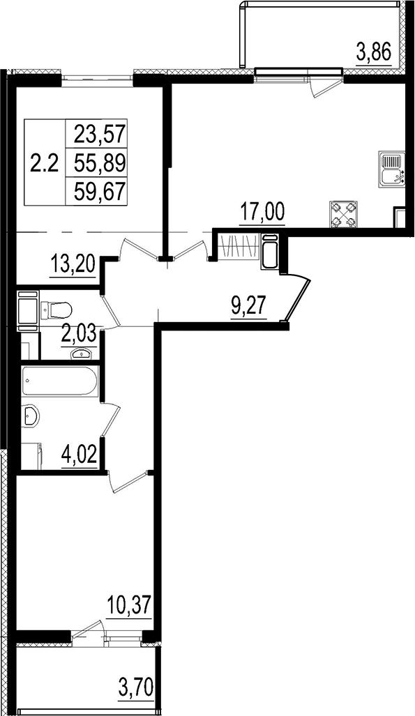 3Е-к.кв, 55.89 м²