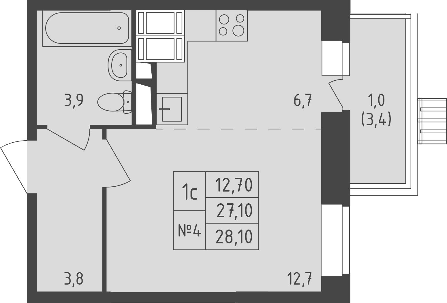 Студия, 30.43 м²
