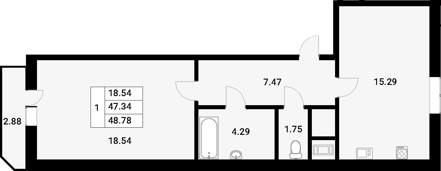 1-к.кв, 48.78 м²