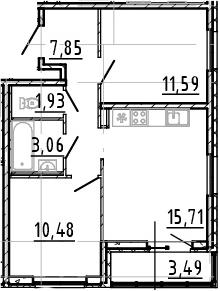 3Е-комнатная, 50.62 м²– 2