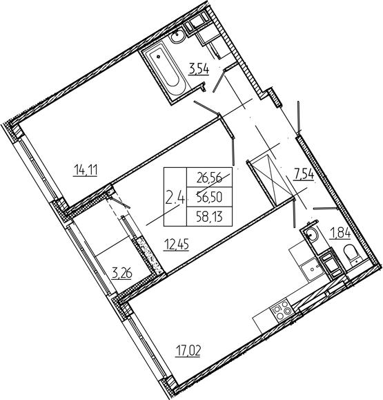 3-к.кв (евро), 59.76 м²