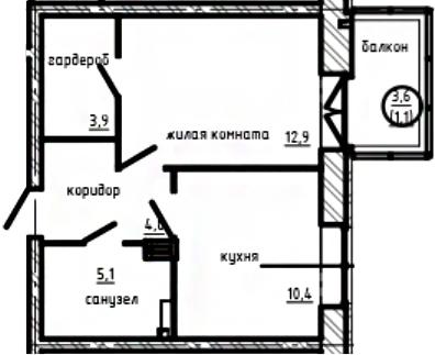 1-к.кв, 40.77 м²