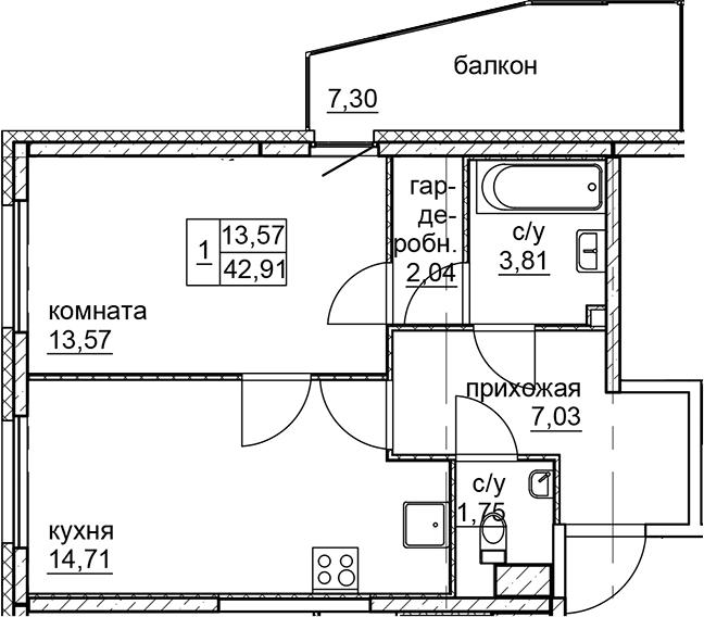 2Е-к.кв, 42.91 м²