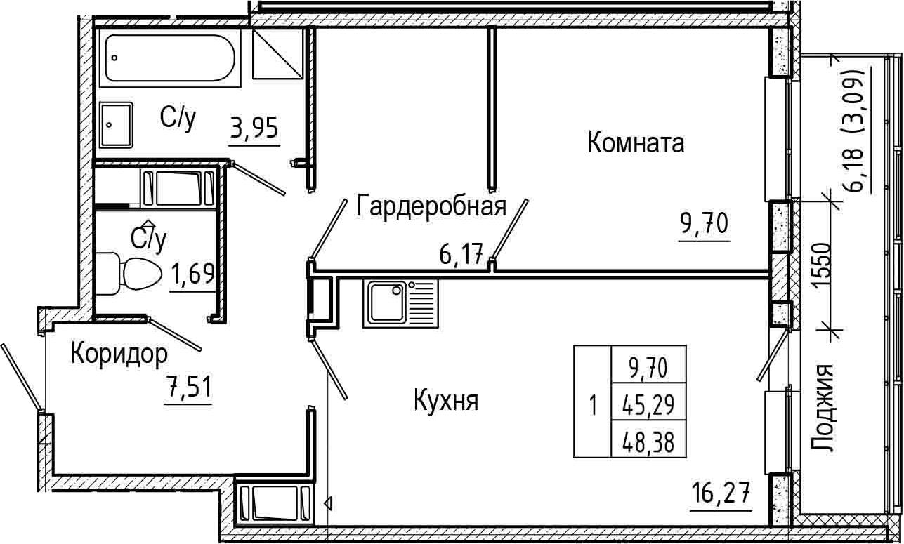 2Е-комнатная, 48.38 м²– 2