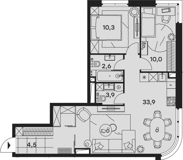 3Е-к.кв, 65.2 м², от 2 этажа