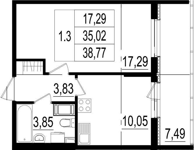 1-к.кв, 35.02 м²