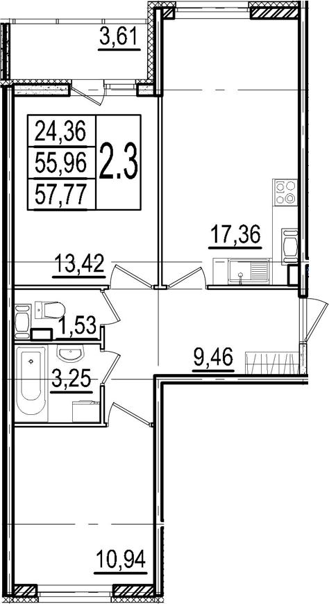 3Е-к.кв, 55.96 м²