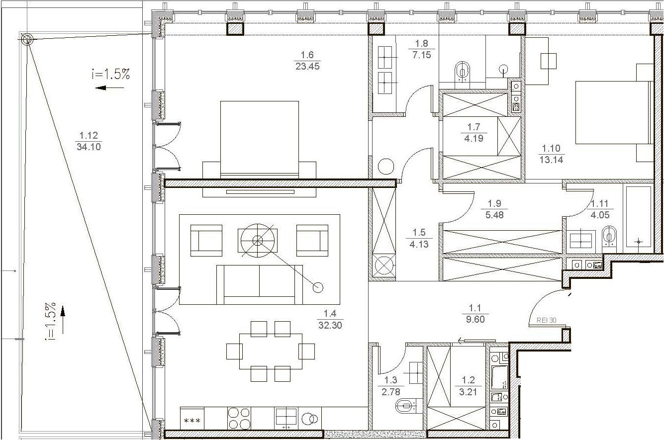 3Е-комнатная, 119.71 м²– 2