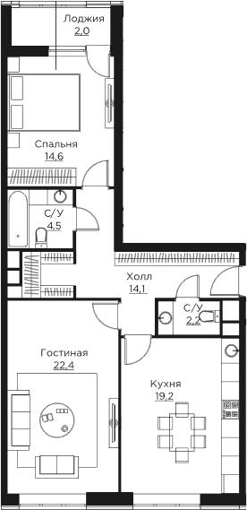 3Е-к.кв, 79 м²