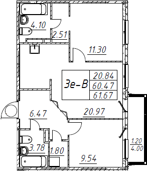3Е-к.кв, 61.67 м², от 2 этажа