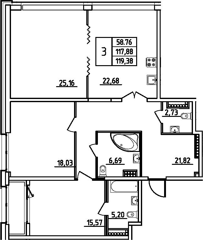 4Е-к.кв, 119.38 м², 11 этаж