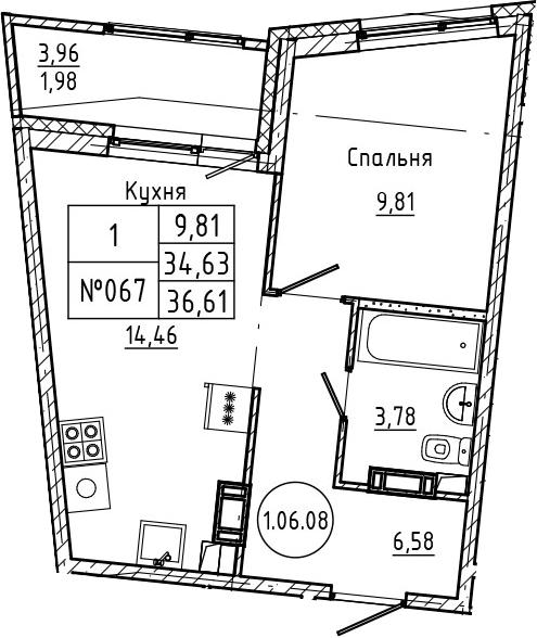 1-комнатная, 36.61 м²– 2