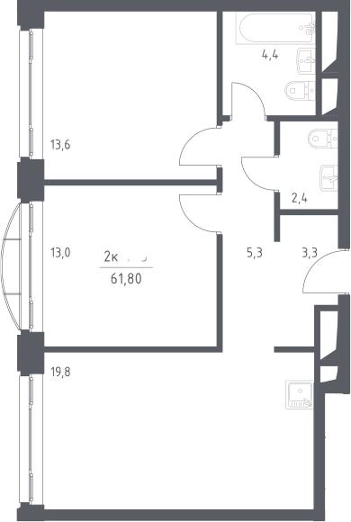 3Е-к.кв, 61.8 м², 20 этаж