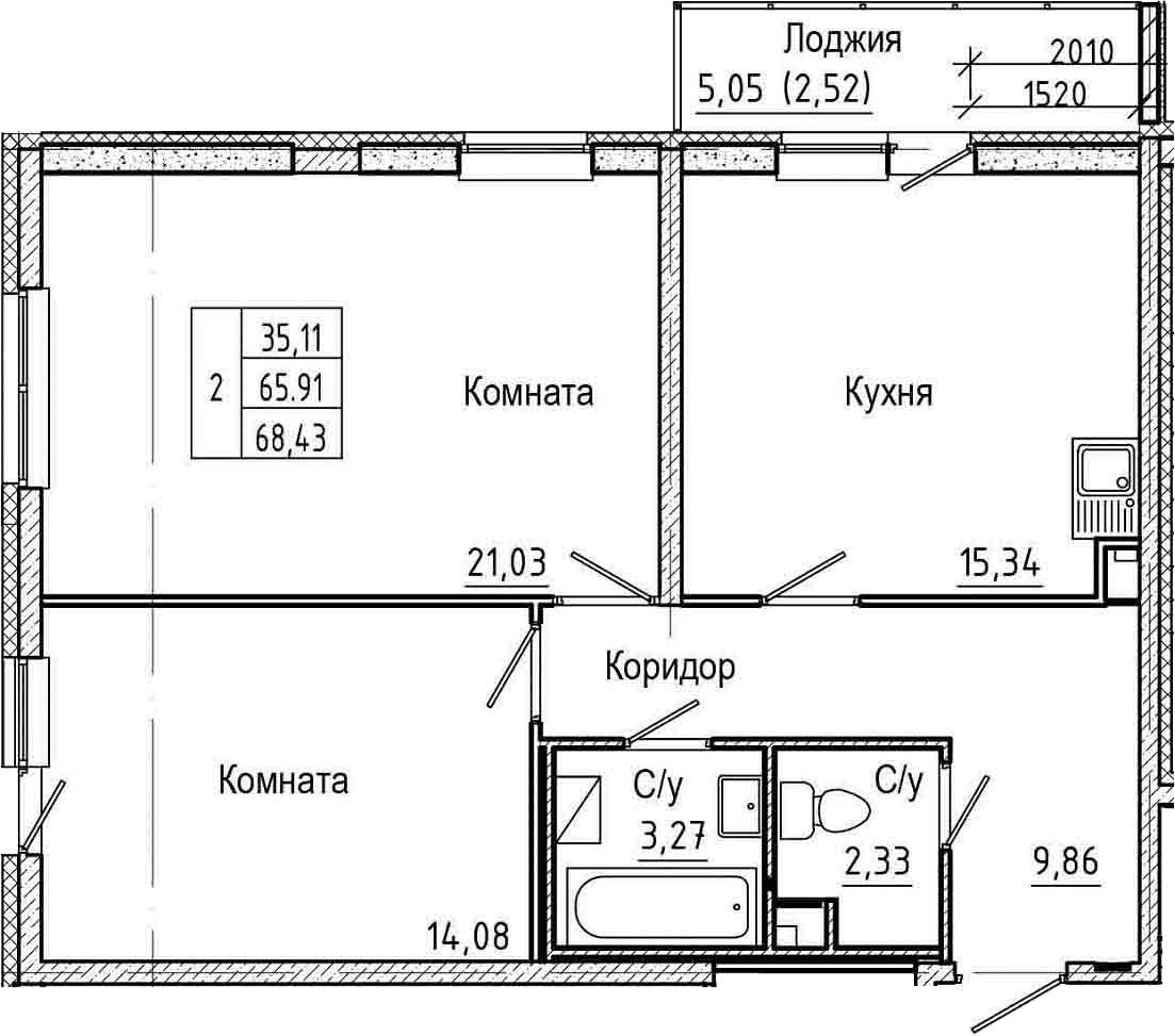 3-к.кв (евро), 70.95 м²